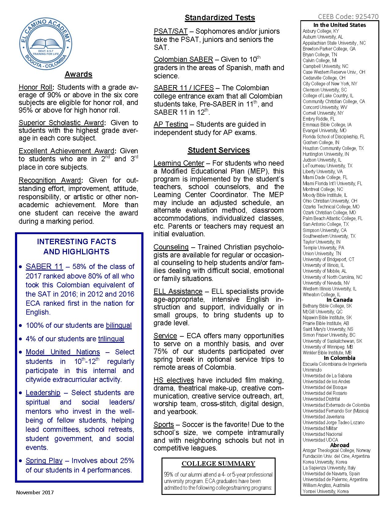 ECA Profile Colleges 2